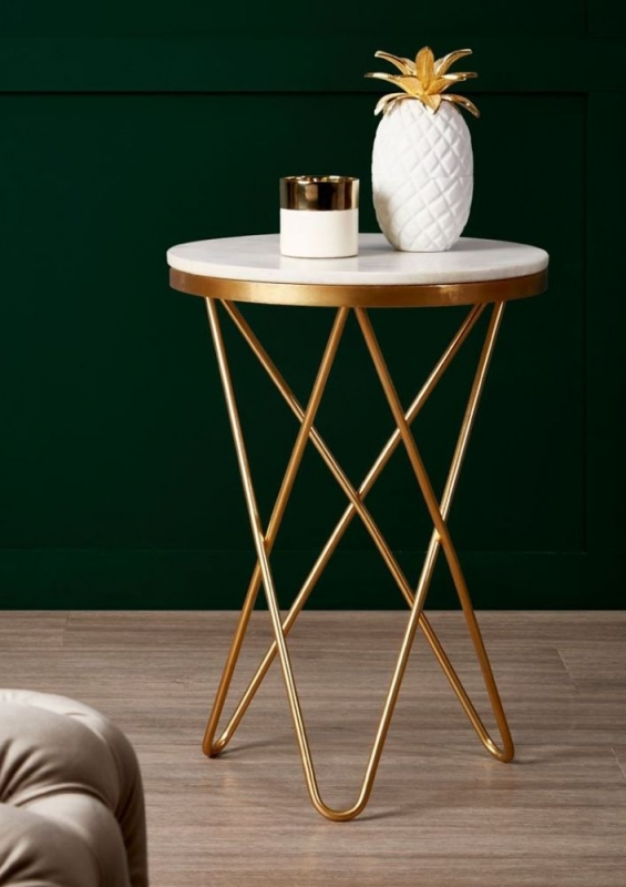 Barnet White Marble and Gold Side Table with Hairpin Legs