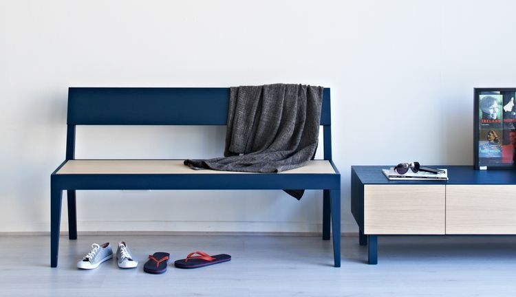 Cubo Blue Bench with Wooden Seat