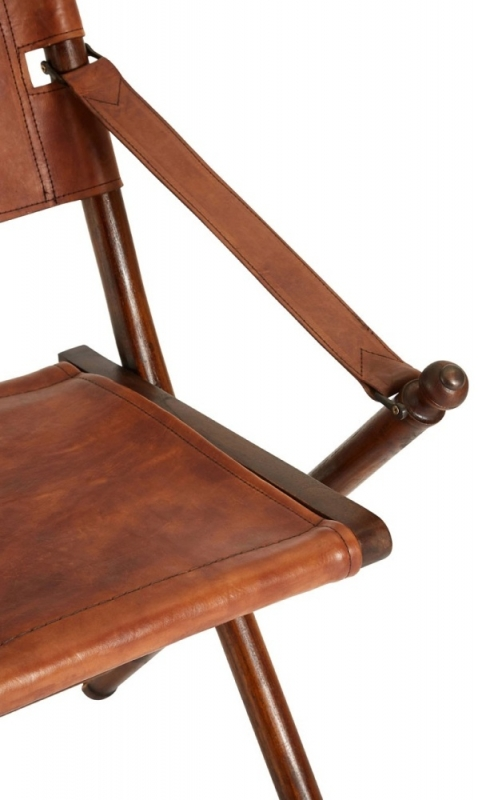 Adelaide Genuine Brown Leather Folding Chair