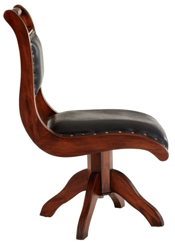 Adelaide Genuine Black Leather Swivel Chair