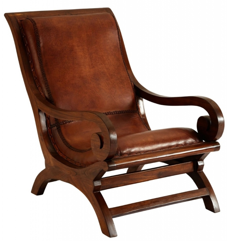 Adelaide Genuine Brown Leather Chair with Footstool