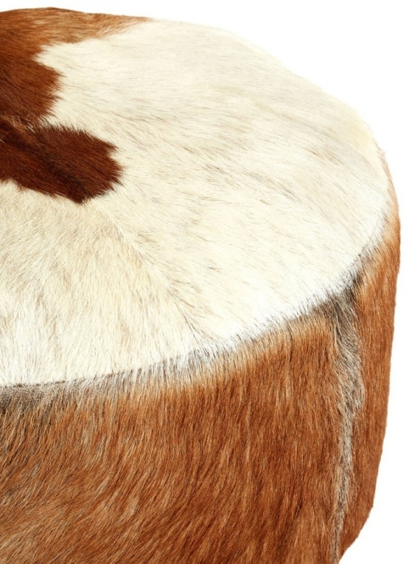 Adelaide White and Brown Goat Hide Round Stool