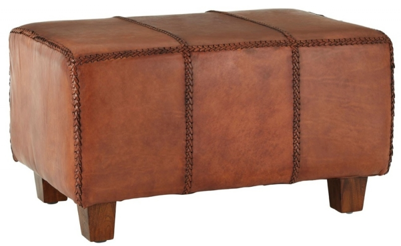 Adelaide Genuine Antique Brown Leather Bench