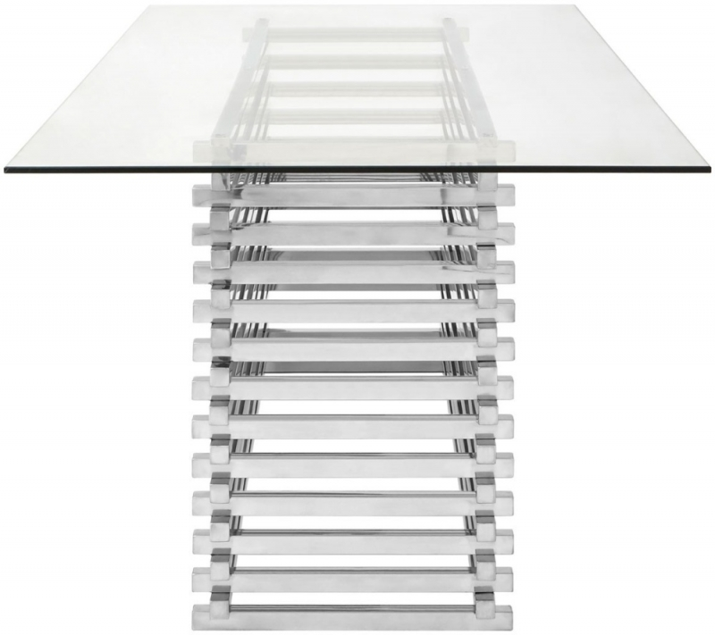 Envi Glass and Chrome Dining Table