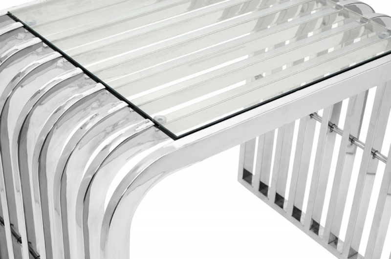 Envi Glass and Chrome Slatted End Table