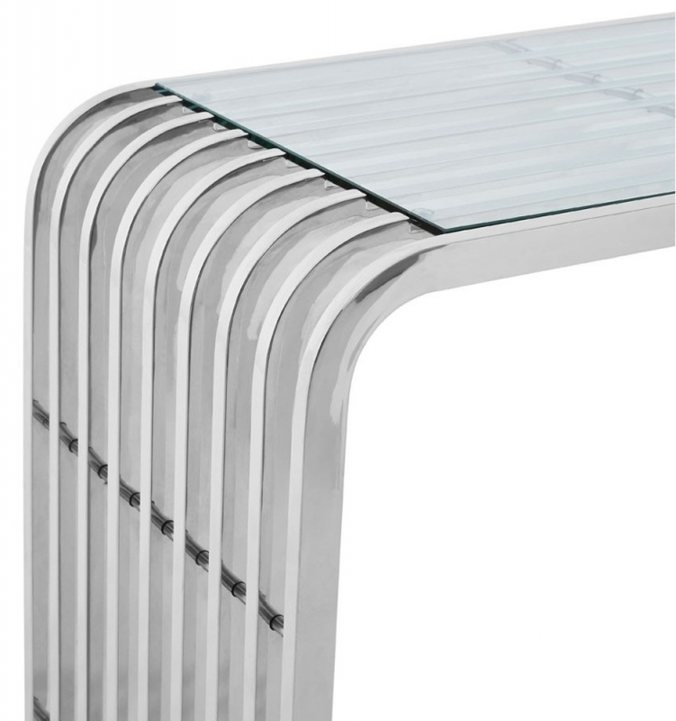Envi Glass and Chrome Slatted Console Table