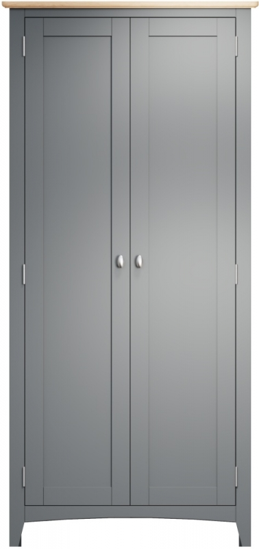 Graceton Oak and Grey Painted 2 Door Wardrobe