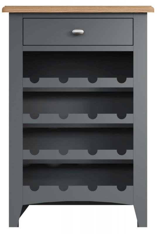Graceton Oak and Grey Painted Wine Cabinet