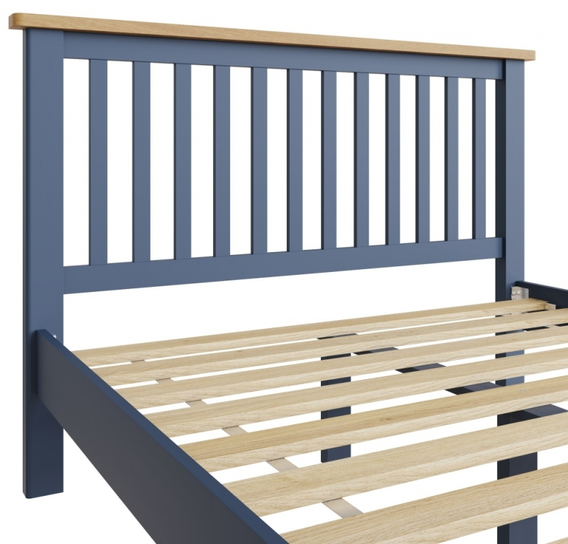 Portland Oak and Blue Painted 4ft 6in Double Bed