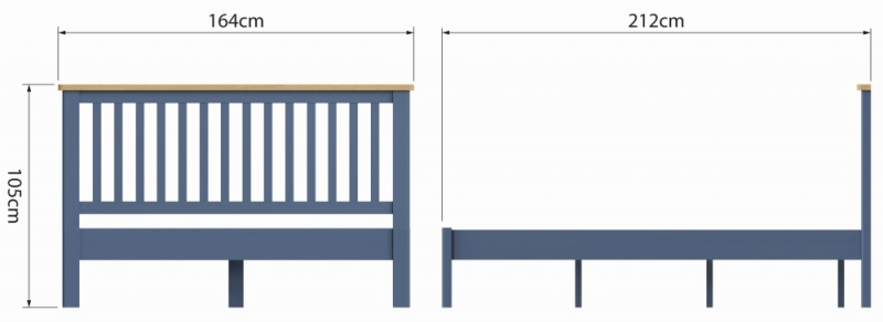 Portland Oak and Blue Painted 5ft King Size Bed