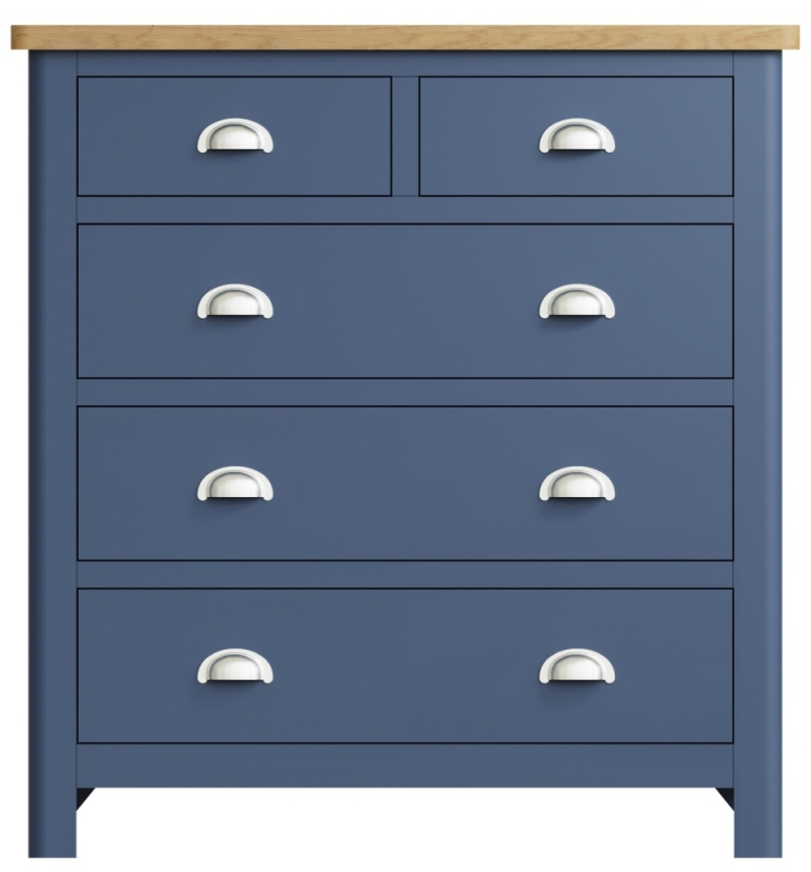 Portland Oak and Blue Painted 2+3 Drawer Chest