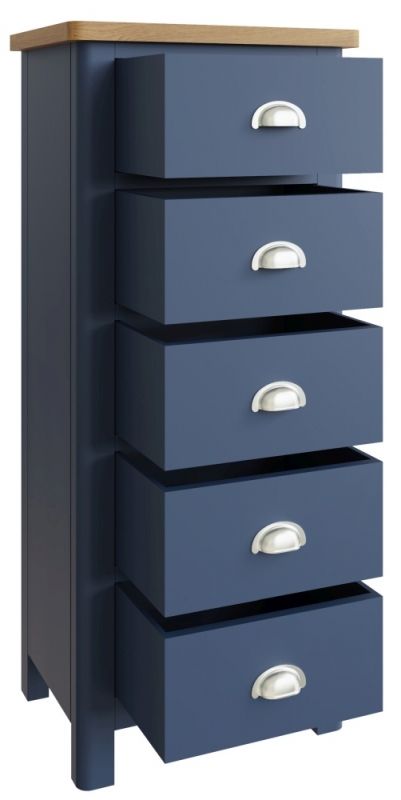 Portland Oak and Blue Painted 5 Drawer Narrow Chest