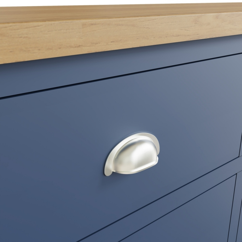 Portland Oak and Blue Painted 6 Drawer Chest