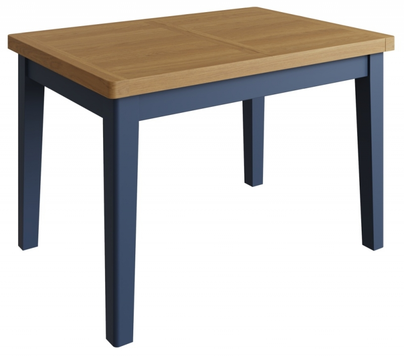 Portland Oak and Blue Painted 120cm-160cm Extending Dining Table