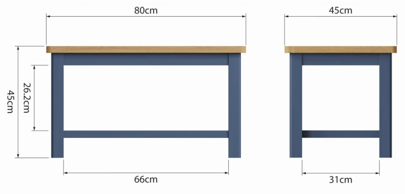 Portland Oak and Blue Painted Coffee Table