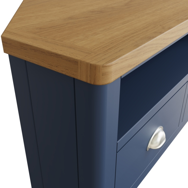Portland Oak and Blue Painted Corner TV Unit