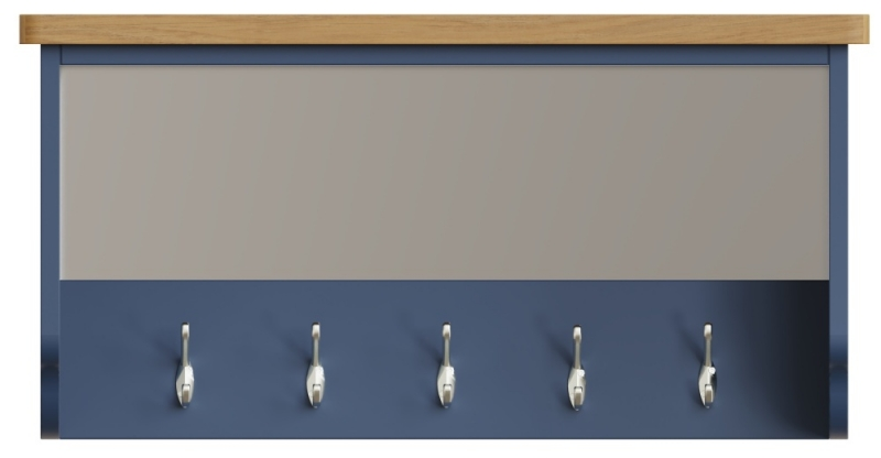 Portland Oak and Blue Painted Hall Bench Top