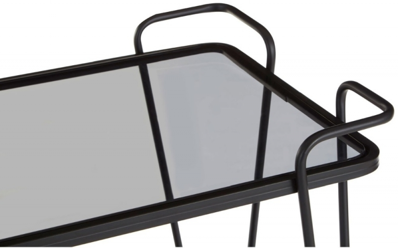 Brisbane Black Cart Table with Grey Glass Top