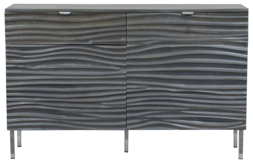 Urban Deco Sea Wave Charcoal Mango Wood 2 Door Sideboard