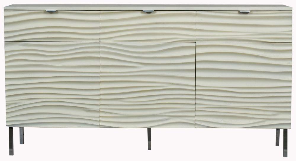 Urban Deco Sea Wave Off White Mango Wood 3 Door Sideboard