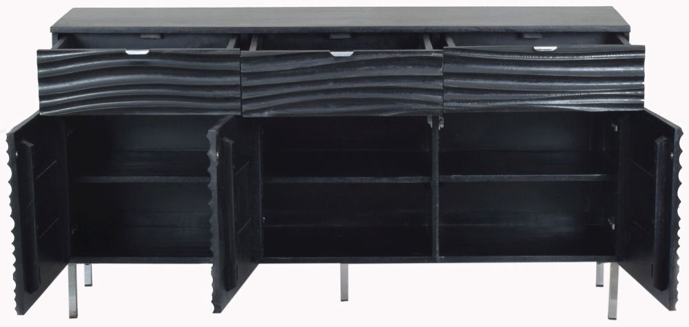 Urban Deco Sea Wave Black Mango Wood 3 Door Sideboard