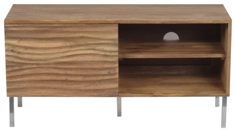 Urban Deco Sea Wave Natural Mango Wood 1 Door TV Cabinet