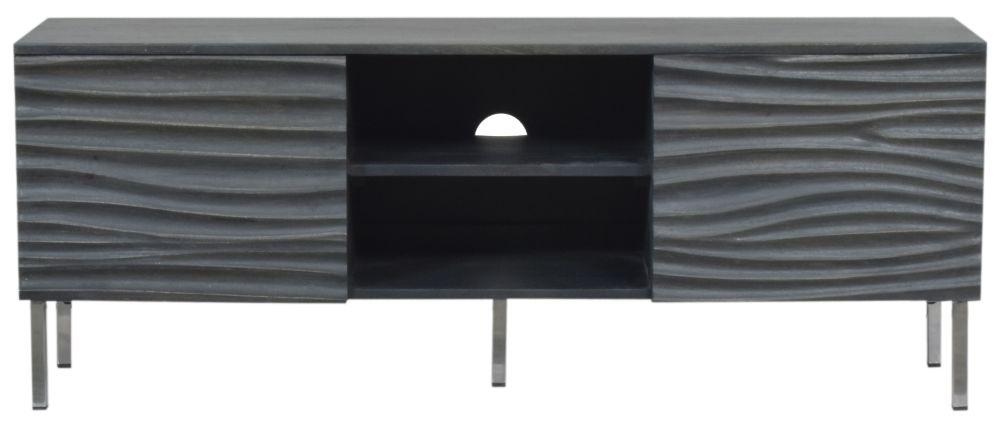 Urban Deco Sea Wave Charcoal Mango Wood 2 Door TV Cabinet