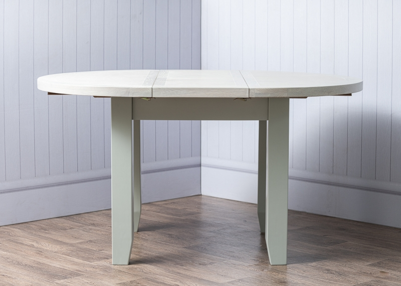 Costwold Oak and Grey Painted 110cm Round Extending Dining Table