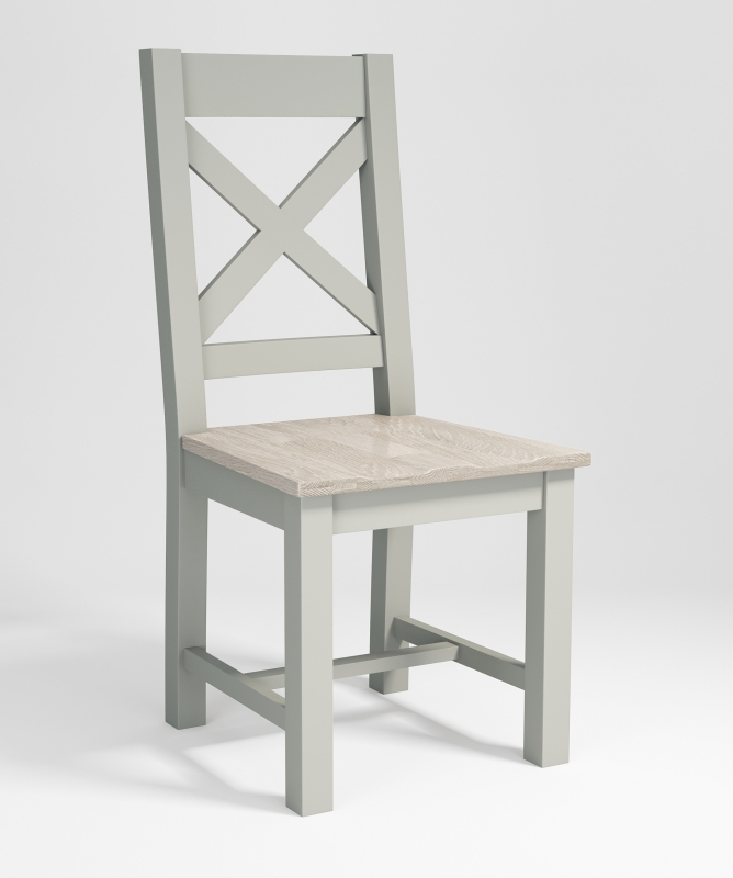 Costwold Oak and Grey Painted Timber Cross Back Dining Chair (Pair)