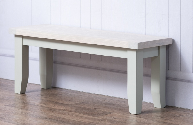 Costwold Oak and Grey Painted Dining Bench
