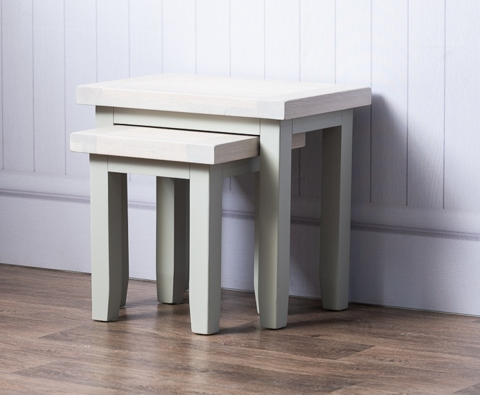 Costwold Oak and Grey Painted Nest of 2 Tables