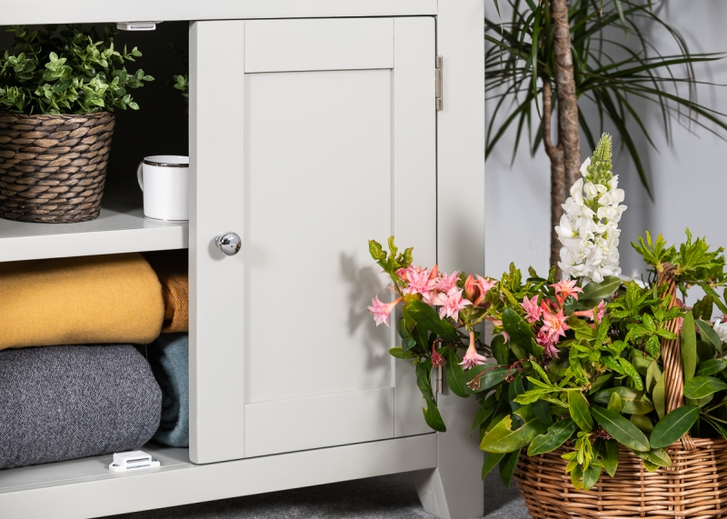 Costwold Oak and Grey Painted Display Cabinet
