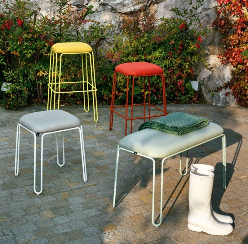 Connubia Stuttle Metal and Fabric Bar Stool with Footrest