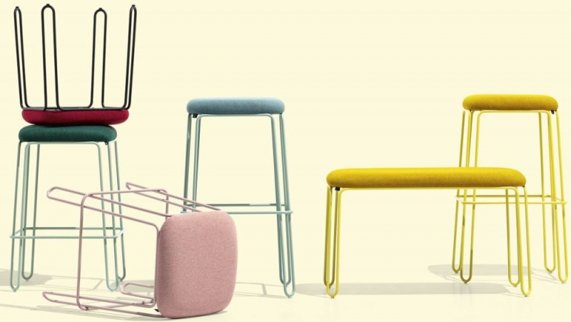 Connubia Stuttle Metal and Fabric Large Bar Stool with Footrest