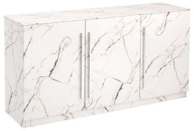 Clearance - Selmont Marble Effect Large Sideboard - New - FSS8627