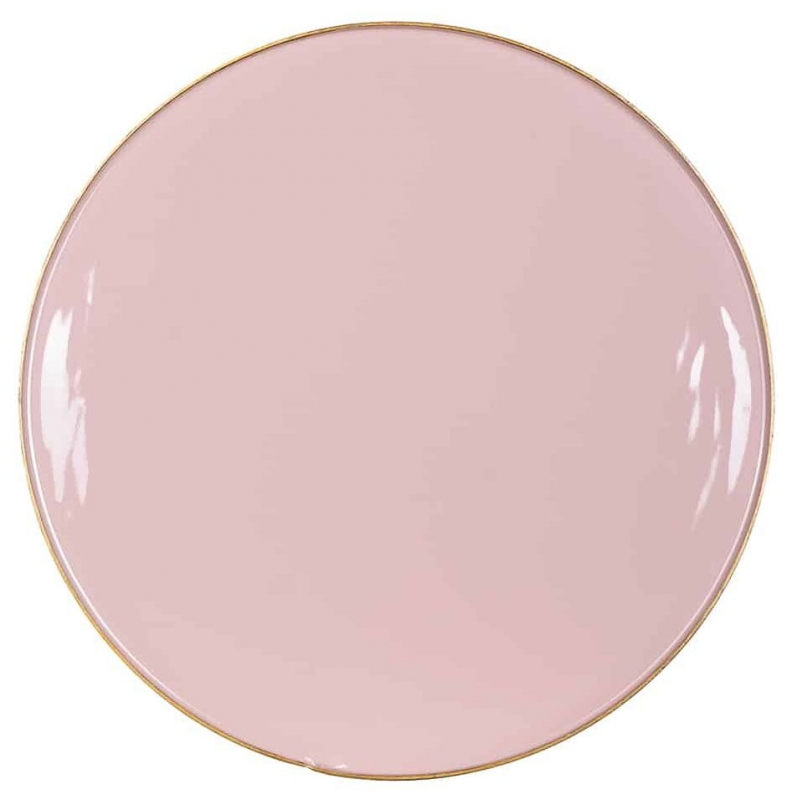 Candy Pink Glass Round Side Table