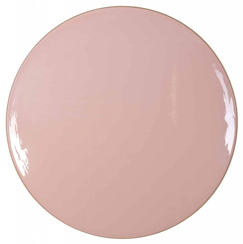 Candy Pink Glass Round Coffee Table