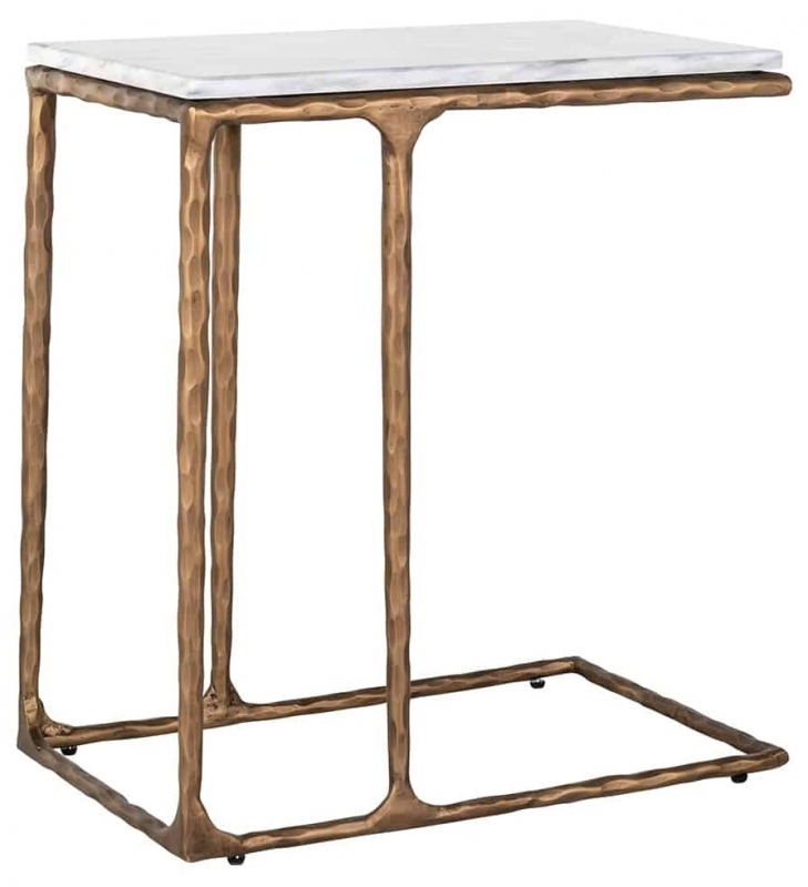 Steel Smith Marble and Brushed Gold Sofa Side Table