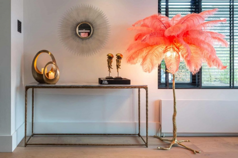 Steel Smith Marble and Brushed Gold Console Table