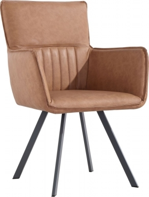 Clearance - Cary Tan Faux Leather Dining Chair (Pair) - New - FSS9133