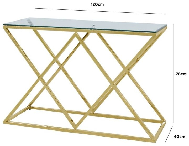 Fowey Glass and Gold Console Table