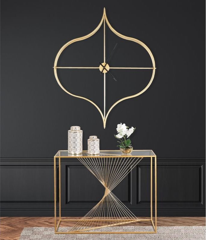 Cheadle Gold Metal and Clear Glass Console Table
