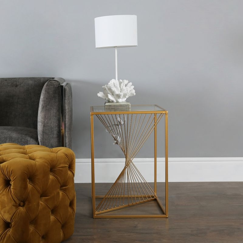 Cheadle Gold Metal and Glass End Table