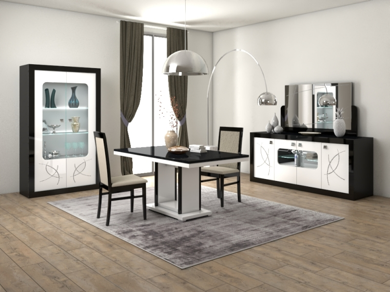 Enna Black and White 2 Door Glass Italian Cabinet with LED Light