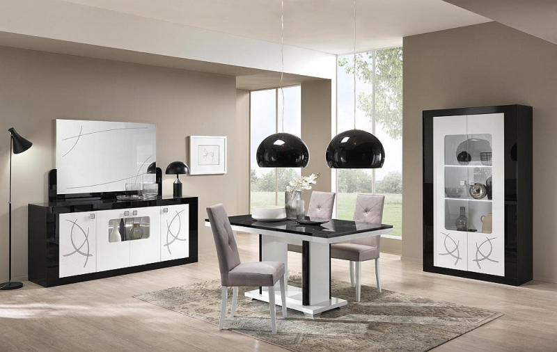 Enna Black and White Italian Dining Table and 4 Fabric Chair