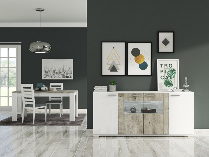 Messina White and Concrete Grey 4 Door Italian Sideboard with LED Light