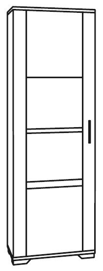 Messina White and Concrete Grey 1 Left Door Glass Italian Cabinet with LED Light