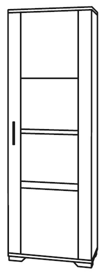 Messina White and Concrete Grey 1 Right Door Glass Italian Cabinet with LED Light