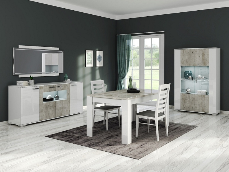 Messina White and Concrete Grey 2 Door Glass Italian Cabinet with LED Light