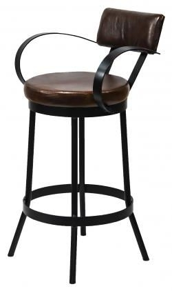 Industrial Padded Leather Bar Stool